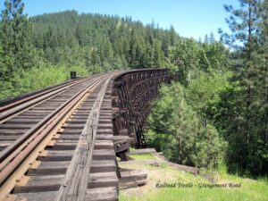 Railroad bridge made out of railroad ties. Pressure Treated. Bridge Timbers.